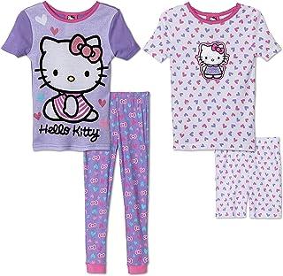 78ad00a5a Komar Kids Girls 4 Piece Cotton Pajamas Sleepwear Set with Shorts and Pants  (5,