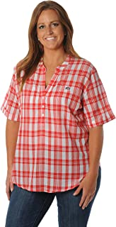 NCAA Women's Short Sleeve Plaid Top