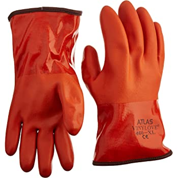 Orange Showa Best Glove Inc 460M-08.RT Atlas Mens 460 Orange PVC Insulated Gloves Medium
