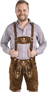 Schöneberger Men's Bavarian Lederhosen Brown - Oktoberfest Leather Trousers