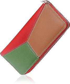 Elios Long PU Phone & Card Holder Zip Around Purse Wallet for Women (Red)