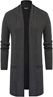 PJ PAUL JONES Men's Shawl Collar Knit Open Front Long Cardigan Sweater with Pockets