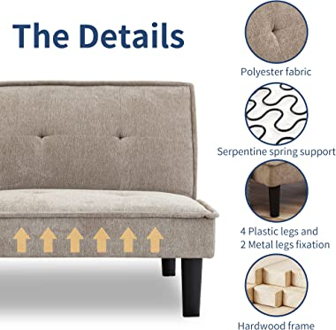 IULULU Memory Foam Couch, Futon Sofa Bed, Small Daybed Foldable Modern Sleeper Sofa Couch, Convertible Loveseats, Khaki