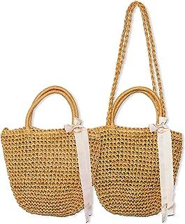 Womens Beige Cotton Woven Top Handle Handbag Uloveido Crochet Bucket Bag Summer Beach Vacation Tote Shoulder Bag with Bowknot Deign BG011