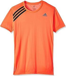 adidas Run It 3-Stripes Contrast Chest Logo High-Low Running T-Shirt for Men - Solar Red & Black