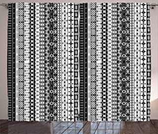 Ambesonne Primitive Curtains, Black and White Tribal Motifs Pattern Native Geometric Borders Design, Living Room Bedroom Window Drapes 2 Panel Set, 108
