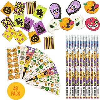Favonir™ Halloween Stationary Party Favor Collection 48 Set - Holiday Themed Kids Trick Treat Prizes – Pencils – Mini Spiral Books – Assorted Novelty Stickers – Ghost And Pumpkin Shaped Erasers - Reward Prizes, Carnival Events