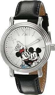 Disney Women's W001861 Mickey & Minnie Analog Display Analog Quartz Black Watch