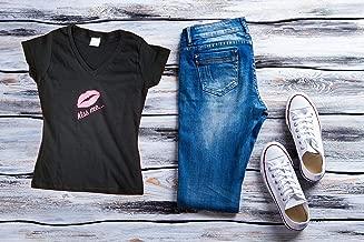 Women T-shirt, V neck, kiss me, black t-shirt, women cloth, casual cloth, graphic & inspiration tee, encouraging shirt, fitness shirt.