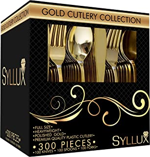 Syllux Gold Plastic Silverware, BPA Free 100 Knives, 100 Forks, 100 Spoons