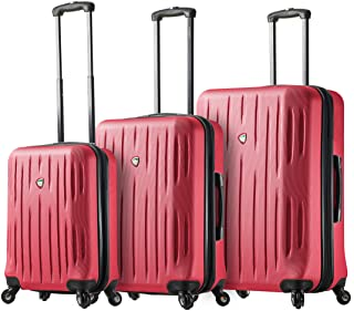Mia Toro Italy Fabbri Hardside Spinner Luggage 3pc Set, Pink, One Size