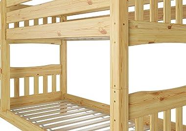 Erst-Holz Lit superposé séparable 'de Luxe' pin Massif 90x200 avec sommier et Matelas 60.15-09Ni70M