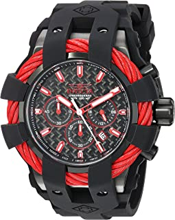 Men's Bolt Stainless Steel Quartz Watch with Silicone Strap, Black, 32 (Model: 23869)