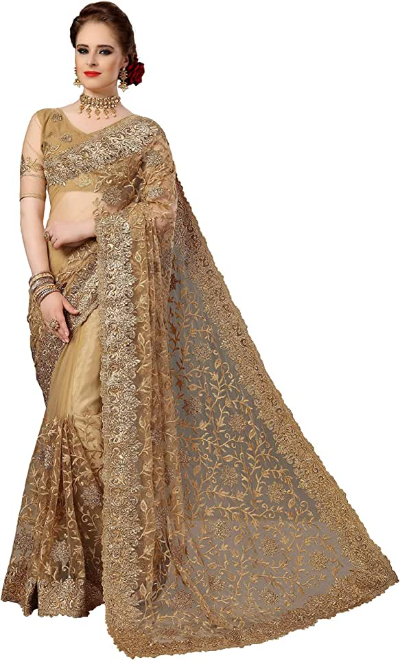 Indian Panash Trends Women's Net Heavy Embroidery Saree Unstitched Blouse Saree