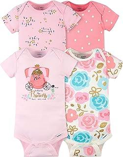 Gerber Baby Girls' 4-Pack Short Sleeve Onesies Bodysuits