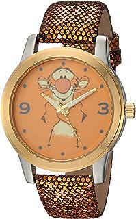 DISNEY Pooh Tigger Reloj de cuarzo analógico con correa de piel sintética, dorado, 18 (Modelo: WDS000353)