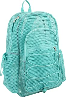 Eastsport XL Semi-Transparent Mesh Backpack with Comfort Padded Straps and Bungee, Turquoise