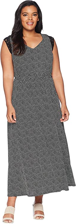 Plus Size Diem Maxi Dress with Crocheted Sleeve