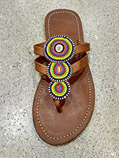 African Maasai Sandals - Handmade Leather Flip Flops - Size 6 (37 Europe) Sole length 9.76''/24.8 cm - Handcrafted in Kenya - Multicolored, KS30