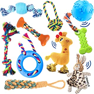 10 pack set of dog toys for small dogs & puppies. Great for teething, chewing, and playtime. Assorted toys: rope, ball, plush, squeaker, stuff less, and IQ interactive treat ball. Great gift item