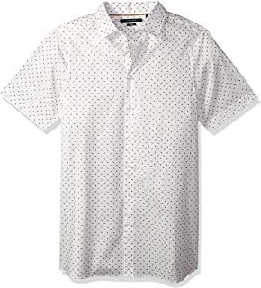Men's Big and Tall Short Sleeve Mini Geo Print Shirt