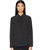RED VALENTINO - Polka Dot Print, Washed Silk Crepe De Chine Top
