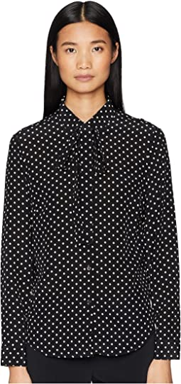 Polka Dot Print, Washed Silk Crepe De Chine Top