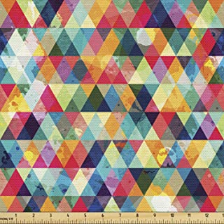 Lunarable Abstract Triangle Fabric by The Yard, Geometric Colorful Grunge Pattern Retro Motifs from Eighties and Nineties,...