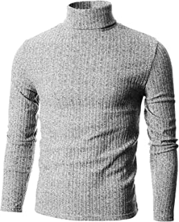 GIVON Mens Slim Fit Wide Ribbed Cotton Blend Turtleneck Pullover