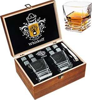 Scotch Glasses Set of 2 - Jameson Bourbon Whiskey Stones - Twist Whiskey Rocks Tongs & Chilling Stones - Burbon Whisky Drinking Wisky Glass for Birthday, Anniversary, Man, Men, Dad, Bar in Gift Box