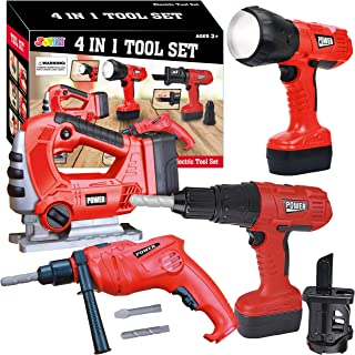 JOYIN 4-in-1 Realistic Construction Tool Toy Electric Tool Playset Construction Pretend Play STEM Tool Toy Kit with Workin...