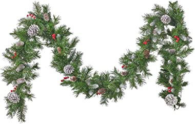Christopher Knight Home 307392 9-Foot Mixed Spruce Pre-Lit Clear LED Artificial Christmas Garland with Frosted Branches, Red
