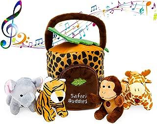 Plush Talking Jungle Animals Toy Set Plush Creations (5 Pcs) | Baby Stuffed Animal Set Includes Elephant, Monkey, Giraffe, Tiger Plush Carrier/Organizer | Great Gift Boys, Girls, Baby Shower