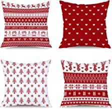BLUETTEK Traditional Vibrant Red Christmas Throw Pillow Covers Set of 4, Cute Throw Pillow Cases 18x18 Inch for Home Couch Car Decorative