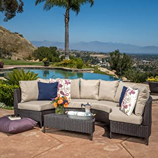 Christopher Knight Home 239367 Venice Outdoor 5 PC Wicker Sofa Sectional Set, Mulitbrown