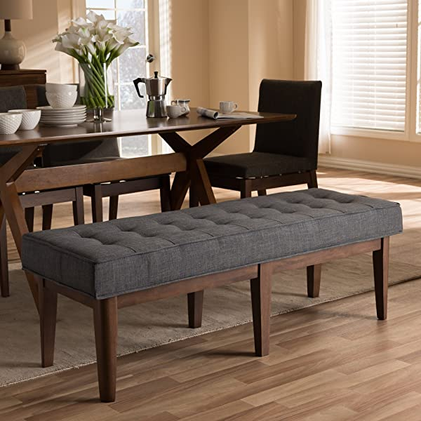 Button Tufted Bench In Dark Gray And Walnut Brown Finish