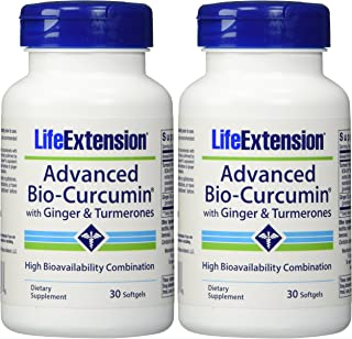 Life Extension Advanced Bio-curcumin with Ginger and Turmerones 30 Softgels (2-Pack) (Packaging may vary)
