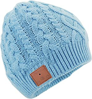 Tenergy Wireless Bluetooth Beanie Hat with Detachable Stereo Speakers & Microphone, Fleece-Lined Unisex Music Beanie for Outdoor Sports, Braid Cable Knit (Airy Blue)