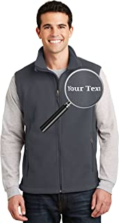 Custom Embroidered Mens Fleece Vest - Embroidery Zip Up Sleeveless Jacket for Men