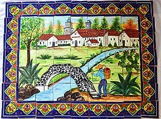 COLOR Y TRADICIÓN Mexican Talavera Mosaic Mural Tile Handmade Folk Art Rustic Bridge Backsplash # 08