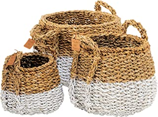 WHW Whole House Worlds Two-Toned Handwoven Belly Baskets, Set of 3, White Bottom Accents, Chunky Weave, Natural, 17.75, 15.75 and 13.75 Inches Tall