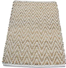 Chardin home Chevron Jute and soft cotton chenille Rug, Natural Jute/Ivory, Size: 22''X34''