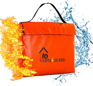 Fireproof Document Bag, Waterproof Resistant Silicone Coated Fiberglass VESTAGUARD XL Sturdy Fire Proof Bags For Your Safe Protect Your Cash Money and Files