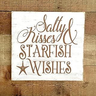 Tiukiu Salty Kisses Starfish Wishes Sign, Nautical Sign, Nautical Home Decor, Starfish Home Decor, Beach Decor Wall Art
