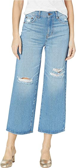 Five-Pocket Gaucho Jeans in Destructed Light Wash