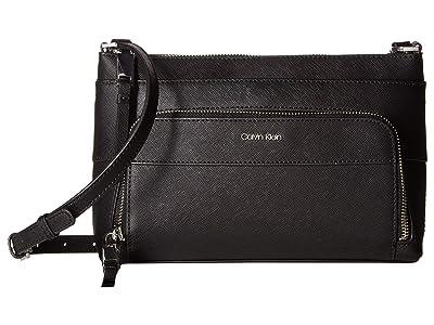 Calvin Klein Key Item Saffiano Leather Top Zip Crossbody (Black/Silver) Cross Body Handbags
