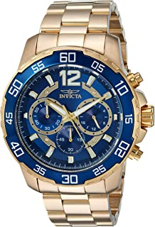 Men's Pro Diver Quartz Watch with Stainless-Steel Strap, Gold, 22 (Model: 22714)