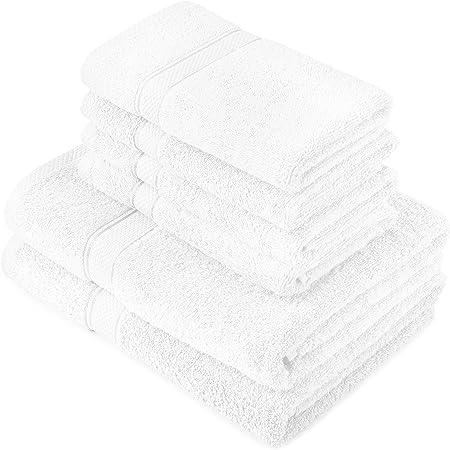 Pinzon by Amazon - Juego de toallas de algodón egipcio (2 toallas de baño y 4 toallas de manos), color blanco
