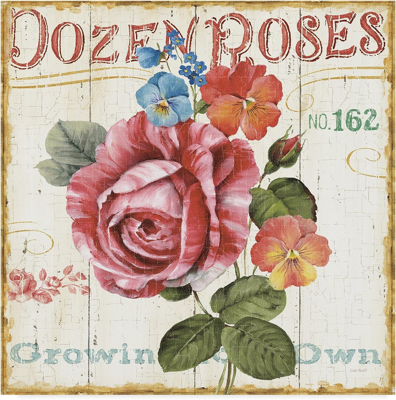 Trademark Fine Art WAP04968-C1414GG pink Garden II by Lisa Audit Wall Decor, 14 x14 , Multicolor
