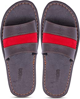 Emosis Men's Slipper Cum Sandal - Latest & Stylish Synthetic Leather - for Outdoor Formal Office Casual Ethnic Daily Use - Available in Tan Brown Blue White Black Color - 0380M